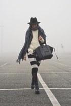 black new look boots - black H&M jacket - ivory Bershka sweater
