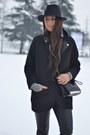 Yellow-nike-sneakers-black-zara-coat-black-h-m-hat-black-zara-bag