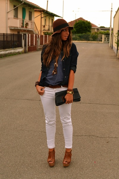 dark brown hat H&M hat - navy denim shirt Zara shirt - navy clutch vintage bag -