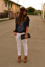 Dark-brown-hat-h-m-hat-navy-denim-shirt-zara-shirt-navy-clutch-vintage-bag-