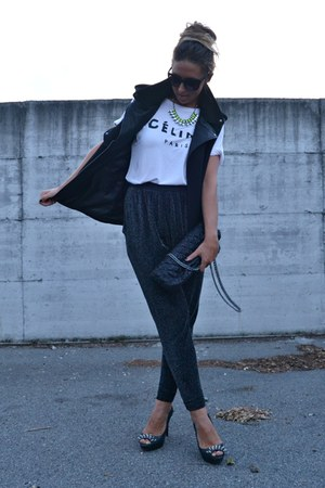 yellow H&M necklace - black Zara bag - black Zara vest - black Zara pants