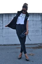 yellow H&M necklace - black Zara bag - black Zara vest - black Zara pants