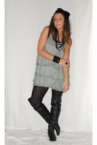 black necklace H&M necklace - black Zara boots - green dress shirt H&M dress
