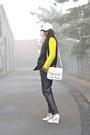 White-h-m-hat-yellow-h-m-sweater-white-h-m-bag-black-mango-pants