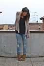 Beige-h-m-cardigan-gray-h-m-shirt-gray-h-m-jeans-beige-zara-shoes-gold-v
