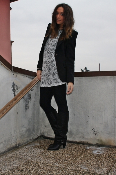 black Zara blazer - white Zara dress - black Zara leggings - black Zara boots