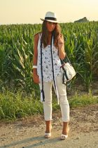 white H&M shirt - white Zara pants - blue no brand scarf - white made in italy s