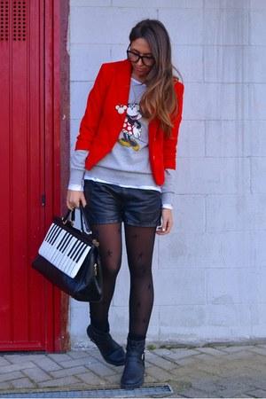 red short blazer H&M blazer - black biker boots H&M boots
