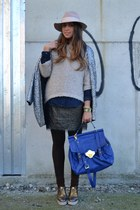 blue bag asos bag - silver oxford-shoes asos shoes - silver silver coat H&M coat