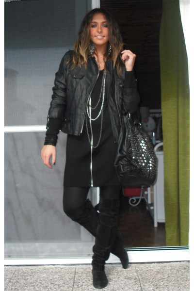 black no brand jacket - black no brand boots - black H&M dress