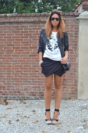 black Mango jacket - black WOAKAO shorts - dark gray Bershka sunglasses