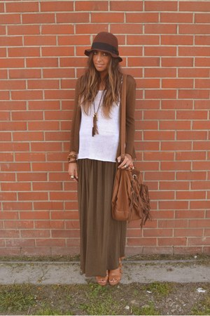 bronze bag Zara bag - bronze wedges H&M wedges - brown maxi-skirt Zara skirt - w