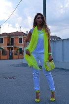 yellow H&M scarf - white Zara jeans - yellow H&M bag - white Zara t-shirt