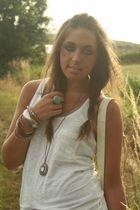 white H&M shirt - silver H&M accessories - blue H&M accessories - white H&M purs