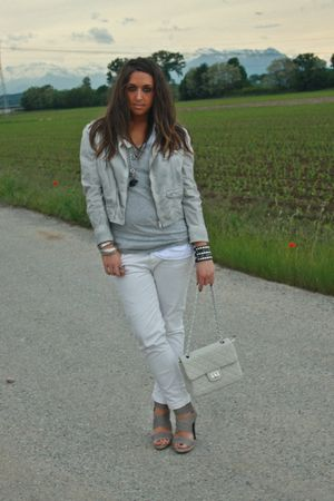 gray Zara jacket - gray H&M shirt - white Zara pants - gray made in Marrakech sh