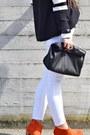 Black-zara-sweater-gold-betty-london-boots-white-asos-hat-black-zara-bag