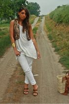 brown Mango vest - white H&M shirt - white Zara pants - brown made in italy shoe