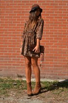 bronze boots Urban Outfitters boots - brown dress H&M dress - brown hat H&M hat
