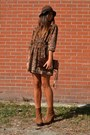 Bronze-boots-urban-outfitters-boots-brown-dress-h-m-dress-brown-hat-h-m-hat
