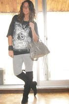 Zara t-shirt - Zara pants - made in italy boots - balenciaga accessories - H&M b