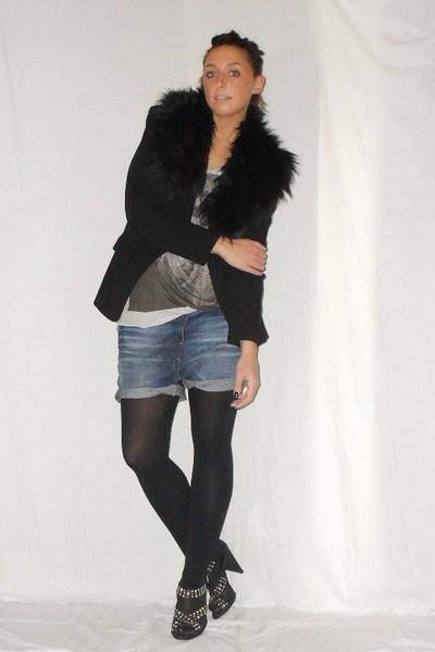 black Zara blazer - silver Zara t-shirt - blue Zara shorts - black Calzedonia ti