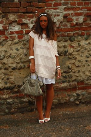 pink H&M dress - white H&M dress - white no brand shoes - white H&M accessories