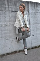 ivory studded jacket DIY jacket - off white Topshop boots - silver Zara sweater