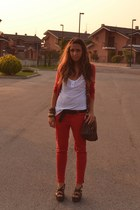 crimson bag asos bag - brick red pants Zara pants - crimson belt vintage belt -