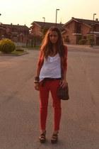 crimson bag asos bag - brick red pants Zara pants - crimson belt vintage belt -