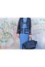 Blue-no-brand-dress-black-celine-bag-white-bershka-sneakers