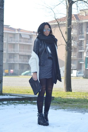 white H&M cardigan - charcoal gray Zara skirt