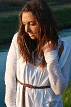 white made in Positano dress - white H&M cardigan - brown H&M belt