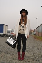 black romwe bag - black H&M hat - ivory Zara blazer - black Zara t-shirt