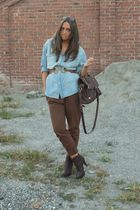 brown new pants Zara pants - brown last year boots silvian heach boots