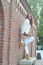 Gold-gold-shoes-persunmall-heels-cream-zara-jacket-brown-vintage-bag
