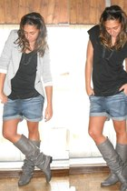 Zara t-shirt - Zara blazer - Zara shorts - Coolway boots