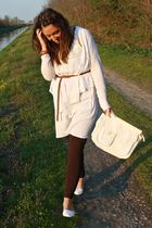 white H&M cardigan - brown H&M belt - white made in Positano dress - brown Zara