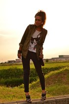 black Zara shoes - chartreuse Zara shirt - black Zara bag - ivory H&M t-shirt