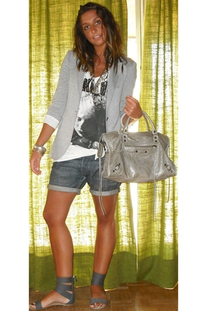Zara blazer - REPLAY shorts - Zara shoes - Zara t-shirt - balenciaga accessories