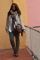 dark khaki Zara cardigan - ivory Zara shirt - brown asos bag - light brown H&M t