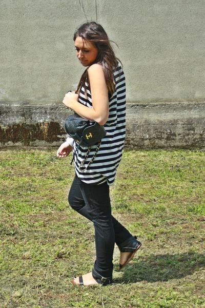 white H&M shirt - black H&M pants - black made in Marrakech shoes - black Chanel