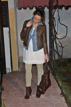 brown made in italy jacket - blue H&M shirt - beige Zara shirt - beige Zara pant