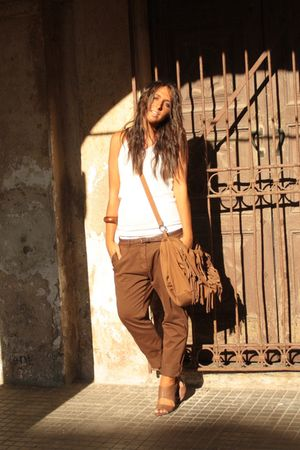 white H&M top - brown Zara pants - brown Zara shoes - brown Zara purse - brown H