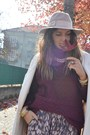 Crimson-h-m-sweater-ivory-zara-coat-eggshell-topshop-hat