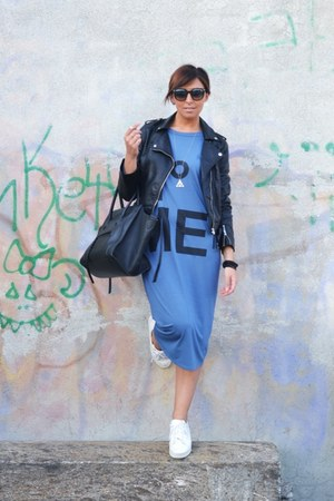 blue no brand dress - black Celine bag - white Bershka sneakers