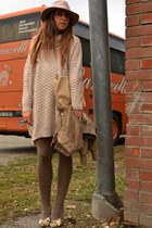 beige wool dress H&M dress - camel very old shoes Moschino shoes