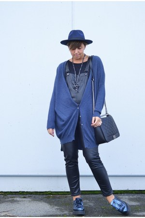 blue Private shoes - black H&M pants - blue frida cardigan