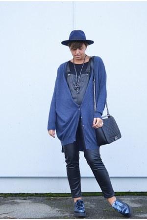 blue Private shoes - black H&M pants - blue frida cardigan