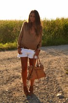ivory H&M shorts - bronze Zara blouse
