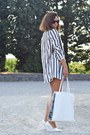 White-bershka-bag-heather-gray-zara-blazer-black-h-m-shorts